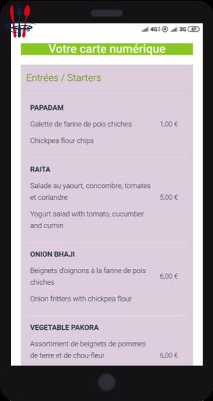 Carte de menu digitale sur QR Code pour restaurants