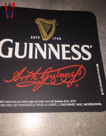 Sous verre sous bock Guinness