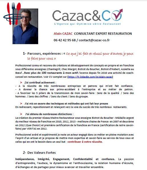 Alain CAZAC  CONSULTANT EXPERT RESTAURATION