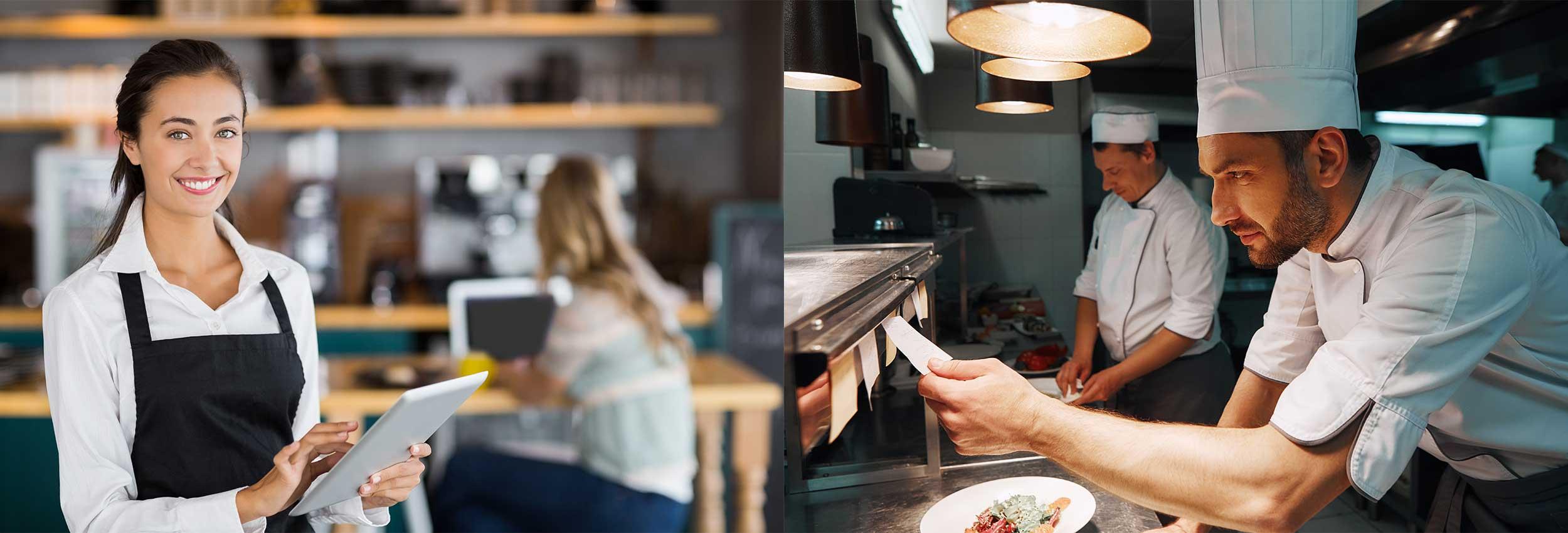 Serveur, cuisinier restaurant